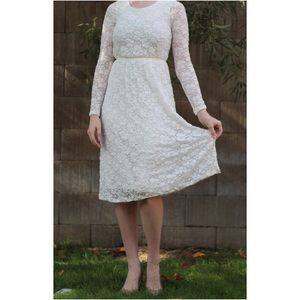 all lace white long sleeve midi dress